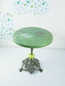Small 1960s vintage antique style cast brass onyx side lamp coffee table