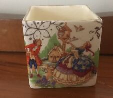 Vintage Square China Pot Crinoline Lady And Gentleman