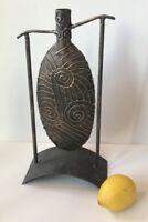 """Metal Work Japanese Bud Vase Welded Bud Vase 2.2lbs - 14.5 """" Tall Patina"""