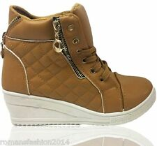 New Ladies Womens Quilted Wedge Trainers Mid Heel Platform Sneakers Ankle Boots