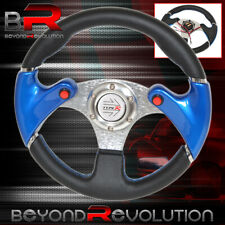 320mm 3 Spokes Dual Nos Button Blue Pvc Leather Steering Wheel Typer Horn