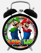 "Super Mario Luigi Alarm Desk Clock 3.75"" Home or Office Decor W90 Nice For Gifts"