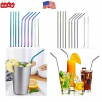 "Reusable Stainless Steel 10.5"" Metal Drinking Straw Straws + Cleaner Brush Kit"
