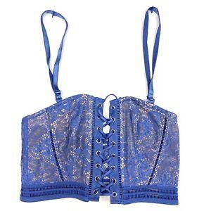 NEW Victorias Secret Size Small Corset Blue Lace Unlined $49 H11