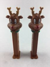 Lot 2 PEZ Dispenser Holiday Christmas Red Nose Reindeer Collectible 2012