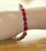 """Solid 14k Yellow Gold Over 7 CT Oval Cut Red Ruby Anniversary Tennis 7"""" Bracelet"""