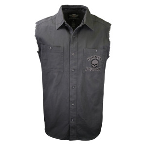 Harley-Davidson Men's Grey Skull Sleeveless Vest