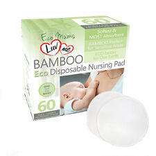 60 x LuvMe BAMBOO ECO Disposable BREAST PADS Natural Pad Nursing Maternity NEW
