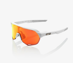 100% Percent Cycling S2 Sunglasses Matte Off White HiPER Red Mirror Lens