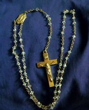 Vintage Sterling Silver Crystal Mary Immaculate Rosary Antique Beautiful