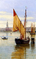 Beautiful Oil painting antonietta brandeis barca da pesca, venezia Hand painted