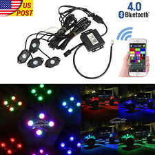 4X Pod RGB LED Rock Lights Wireless Bluetooth Music Flashing Multi Color Car 4WD