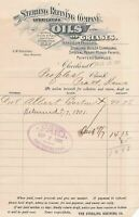 U.S. The Sterling Refinery Co. Logo Cleveland 1901 Oils,Grease Invoice Ref 43396