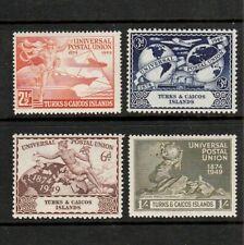 TURKS & CAICOS ISLANDS 1949 COMPLETE SET OF UPU POSTAL UNION STAMPS MINT