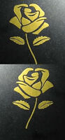 Custom Guitar Headstock Inlay Luthier, ROSE, Sticker Decal, Metal Flake Gold,
