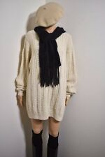 Deluxe Womens oversize sweater Tunic Hand Knit Ivory Cardigan Hippie Top