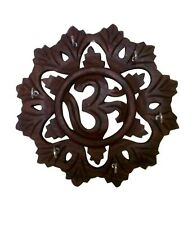 Wooden Handcraved Sheesham Wood Big OM Key Holder Hanger Gift Item Home Decor