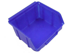 Sichtlagerboxen blau Gr.1 Stapelbox Lagerbox 40 Stück mit 8 Befestigungsschienen