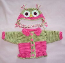 American Girl Doll Clothes HPink Owl Sweater Hat Fits Bitty Baby/Berenguer 15-17