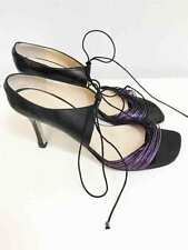 Designer CHANEL Authentic Size 38.5 EU Black  & Purple Leather Women's Shoes