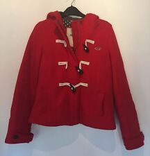 SIZE SMALL HOLLISTER RED JACKET WITH HOOD AUTUMN/PARTY/WINTER/TOWIE/BOHO RRP £85