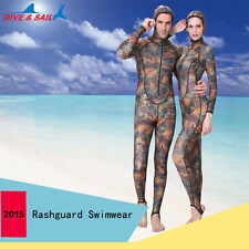 Men & Women Camouflage Full Body Swimwear Diving Suit Dress Wetsuit Rashguard