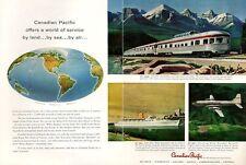 1958 Canadian Pacific By Sea Land or Air Train Britannias Plane Ship PRINT AD
