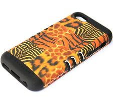 iPhone 5C - HARD&SOFT RUBBER HYBRID HIGH IMPACT CASE BROWN LEOPARD ANIMAL ZEBRA