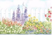 GARDEN FENCE, FLOWERS AND BUSHES WITH BLUE TRIM Wallpaper bordeR Wall