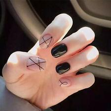 24Pcs Fashion Pink Black Nail Tips Acrylic Short Full False French Nail Art Tips