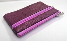 SOFT BERRY PURPLE LEATHER LOOK SMALL COIN PURSE CARD HOLDER POUCH ZIPS WALLET