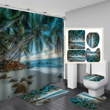 Beach Palm Tree Shower Curtain Bath Mat Toilet Cover Rug Bathroom Decor