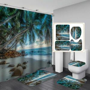 Beach Palm Tree Shower Curtain Bath Mat Toilet Cover Rug Bathroom Decor