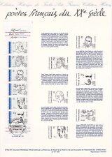 Document Philatélique Timbre 1er Jour : 23/02/ 1991 - Poètes Français du XX°