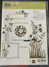 Stampin Up JUST BELIEVE  flowers silhouettes thank you Retired mounted un-inked