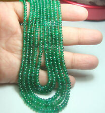 """100% Natural Zambian Quality EMERALD Smooth Plain Rondelle Beads 13"""" Strand A1"""