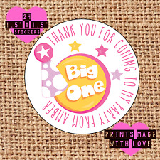 Personalised 1st birthday 24 party bag stickers sweet cone labels thank you b1g