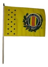 "12x18 12""x18"" Vietnam Veteran Vet of America Stick Flag wood Wooden staff"