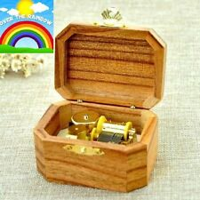 Natural Wood Octagon Wind Up Music Box : SOMEWHERE OVER THE RAINBOW