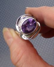 HAGIT GORALI STERLING SILVER PURPLE AMETHYST SCULPTED DIMENSIONAL RING SIZE 7