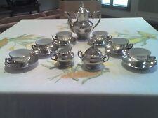 Servizio da Caffè-Tè Bavaria liscio in porcellana placcata in argento COME NUOVO