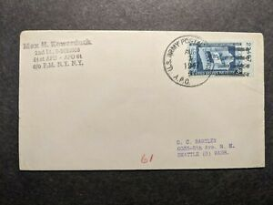 APO 61 LANDSBERG, GERMANY 1947 Army Cover 61st APU Officer's Mail