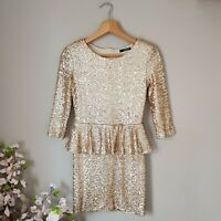 Asos TFNC London Ladies 8 S Dress Gold Peplum Sequin Bodycon Christmas Party