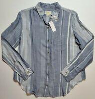 ANTHROPOLOGIE MAEVE  Button Down Shirt Blouse Top Blue Striped XS S M XL NWT