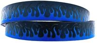 BLUE FLAMES EMBOSSED TRUCKER MOTORCYCLE COWHIDE LEATHER BELT SIZE 26-48 USA MADE