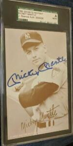 MICKEY MANTLE SIGNED 1980 EXHIBIT CARD POSTCARD YANKEES HOF SGC JSA
