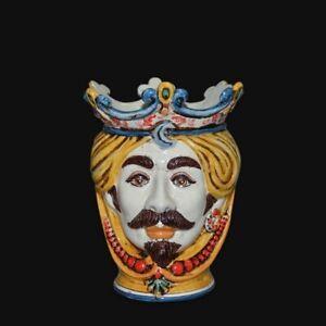 Testa di moro in Ceramica di Caltagirone uomo vaso fatta e decorata a mano