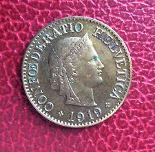 Suisse - Rare et Très Jolie monnaie de 10 Rappen 1919 en Laiton - millésime rare