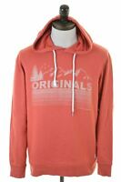 JACK & JONES Mens Hoodie Jumper Large Orange Cotton