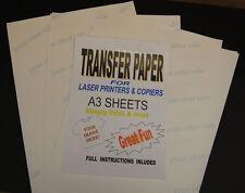 5x A3 Laser & Copiadora T Shirt Transferencia Térmica las hojas de papel para Luz Tejidos